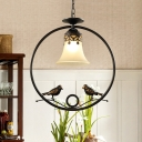 Traditional Bell Shade Hanging Light 1 Light Frosted Glass Ceiling Lamp with Bird for Living Room