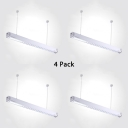 1/4 Pack Linear Suspension Light Aluminum Black/Silver LED Ceiling Light with White Lighting for Factory