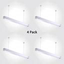 1/4 Pack Linear Suspension Light Aluminum Black/Silver LED Ceiling Light with White Lighting for Factory