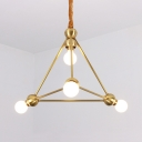 Triangle Restaurant Hallway Chandelier Metal 4 Lights Traditional Hanging Lamp in Brass
