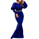 Women's Limo Round Neck Long Sleeves Plain Embellished Belt Detail Floor Length Bodycon Dress