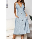 Women's Fashion Sexy Spaghetti Straps Bow Sleeveless Stripes Printed Button Detail Midi Slip Dress