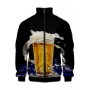 Guys Cool 3D Beer Printed Stand Collar Long Sleeve Zip Up Black Jacket