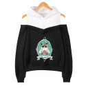 Cute HAPPY BIRTHDAY Grumpy Cat Print Cold Shoulder Long Sleeve Pullover Relaxed Hoodie