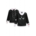 Trendy Eyes Printed Hooded Long Sleeve Ripped Detail Button Front Black Denim Jacket