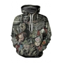 Cool Green Skull Figure 3D Pattern Long Sleeve Relaxed Fit Drawstring Hoodie