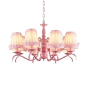 Child Bedroom Tapered Shade Chandelier with Lace Decoration Metal Fabric 8 Lights Pink Pendant Light