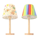 Colorful Tapered Shade Desk Light with Bear/Rainbow Modern Fabric Study Light for Bedside Table