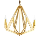 Metal Melon Suspension Light with Candle Shop 6 Lights Vintage Style Chandelier in Brass