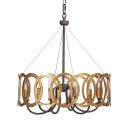 Rustic Style Rust Pendant Lamp Candle 6 Lights Metal Chandelier with Round Shade for Villa