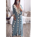 Hot Fashion Sexy V-Neck Long Sleeve Plain Tassel Detail Floor Length Boho Beach Dress