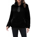 Fashion Plain Zip Front Stand Collar Long Sleeve Split Side Fleece Sweatshirt with Pockets