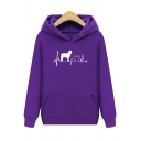 Unique Animal Electrocardiogram Printed Long Sleeve Cotton Casual Hoodie