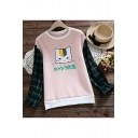 Cartoon Cat Plaid Printed Letter Colorblock Patched Ruffle Long Sleeve Round Neck Sweatshirt