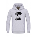 MEOW Letter Cartoon Cat Printed Drawstring Long Sleeve Slim Hoodie with Pocket