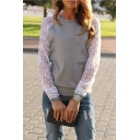 Womens New Trendy Solid Color Lace Insert Long Sleeve Pullover Sweatshirt