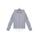 New Fashion Basic Simple Plain Hollow Out Long Sleeve Grey Casual Hoodie
