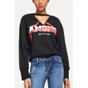 Cool Simple Letter AMONG Hollow Out V-Neck Long Sleeve Black Casual Sweatshirt