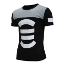 Mens Summer Unique Colorblock Patched Round Neck Short Sleeve Slim Fit T-Shirt