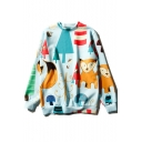 Cute Cartoon Fox Printed Basic Crewneck Long Sleeve Light Blue Sweatshirt