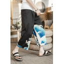 Men's Summer Retro Chinese Style Wave Printed Black Cropped Wide-Leg Pants