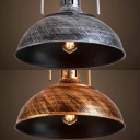 Industrial Dome Pendant Light 1 Light Metal Hanging Light in Bronze/Silver for Kitchen