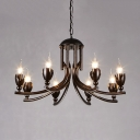 Rustic Style Rust Hanging Lighting with Flameless Candle 8 Lights Metal Chandelier for Bar Restaurant