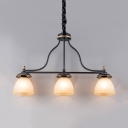 Frosted Glass Bowl Shade Pendant Lamp Cafe 3 Lights American Rustic Island Light in Black