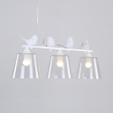Rustic Trapezoid Island Lamp with Bird 3 Lights Clear Glass Ceiling Light in White for Kitchen