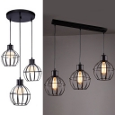 Metal Melon Cage Pendant Lamp 3 Lights Industrial Hanging Light in Black for Dining Room