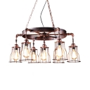 Antique Style Rust Pendant Light Wheel Gear 7 Lights Metal Suspension Light for Bar Restaurant
