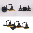Metal Cone Shade Vanity Lighting Makeup Table 1/2/3 Lights Industrial Black Wall Light in Neutral