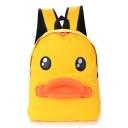 Cute Cartoon Duck Mouth 3D Print Yellow Canvas School Bag Backpack 41*31*12 CM