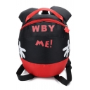 Hot WBY ME Letter Cartoon Hand Print Black and Red Colorblock Children Anti-Lost Mini Backpack 24*19*6 CM