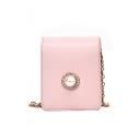 Fashion Plain Pearl Button Embellishment Mini Crossbody Purse 9*4*11 CM