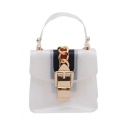 New Trendy Stripe Patched Chain Embellishment Portable Transparent Crossbody Beach Bag 13*6*12 CM