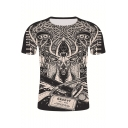 Summer Creative Eyes Deer 3D Printed Short Sleeve Black T-Shirt