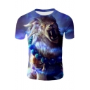 Cool 3D Lion Pattern Round Neck Short Sleeve Blue Casual Loose Tee