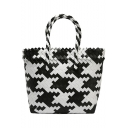New Fashion Color Block Woven Beach Bag Tote for Women 28*10*24 CM