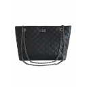 Trendy Solid Color Diamond Check Quilted Tote Shoulder Bag 28*11*22 CM