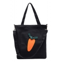 Popular Cartoon Carrot Pattern Flat Pocket Front Canvas School Shoulder Bag 34*3*35 CM