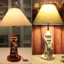 Nautical Style Buoy LED Desk Light 1 Light Wood Study Light in Red/White for Dormitory