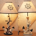 Lifebuoy/Rope Dormitory Desk Lamp Dimmable Resin 1 Light Nautical Style LED Reading Light