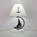 Nautical Style Boat Desk Lamp with Anchor 1 Light Fabric Study Light in White for Child Bedroom