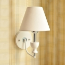 Study Room Tapered Shade Wall Light Fabric 1 Light Nordic Style Multi Color Choice Sconce Light