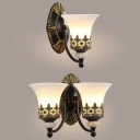 Vintage Style White Wall Lamp Bell Shade 1/2 Lights Frosted Glass Engraved Sconce Light for Hotel