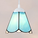 Contemporary Conical Pendant Lamp 1 Light Blue Glass Suspension Light with White Chain for Dining Room