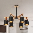 Tapered Shade House Pendant Light Wood 4/6/8 Lights Contemporary Chandelier in Black/White