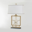 White Starfish Desk Light with Shell 1 Light Creative Resin Reading Light for Kids Bedroom
