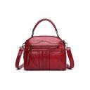 Women's Fashion Solid Color Zipper Embellishment Commuter Satchel Handbag 22*8*18 CM